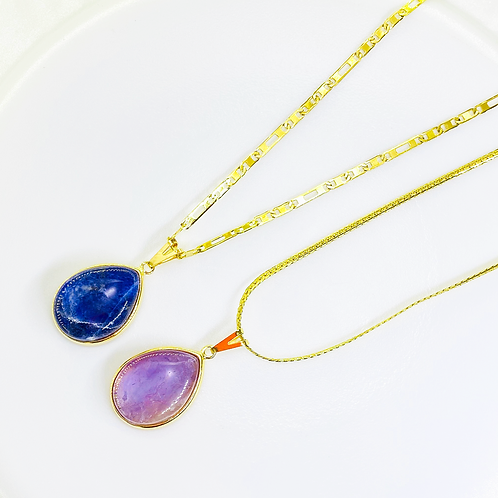 Necklace (Sodalite and Amethyst)(Chains: 50-65 cm)