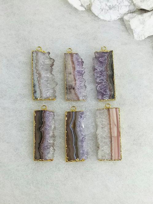 Amethyst Slice pendant (Rectangle) l