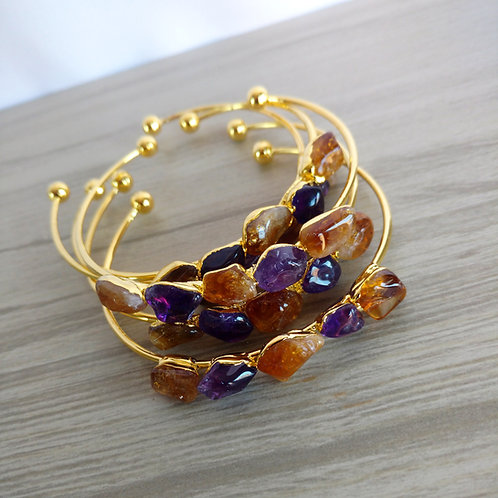 Adjustable Bracelet (Mixed tumbled amethyst and citrine)