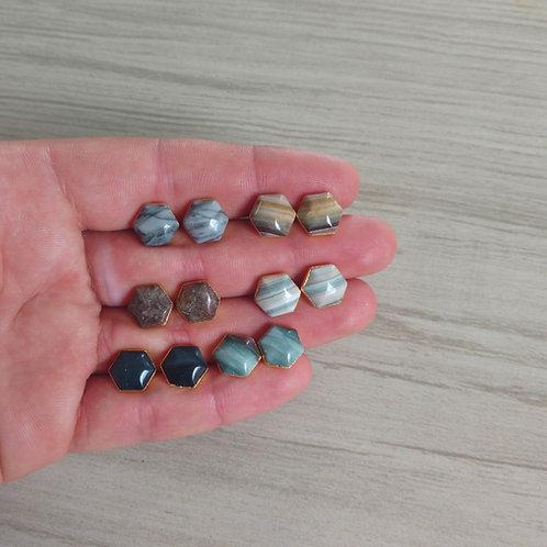Stud Earrings (Hexagon Cabochon) (Jasper)