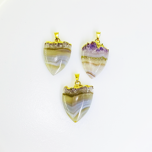 Amethyst Slice Pendants(Shield)