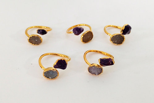 Dual Ring (Druzy Freeform + Tumbled Amethyst)