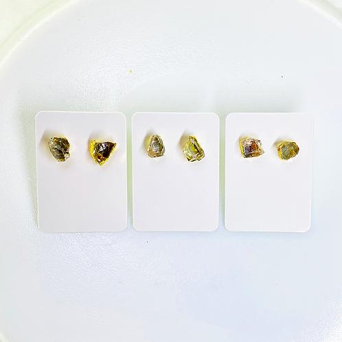 Crystal Quartz Stud Earrings (Hammered)