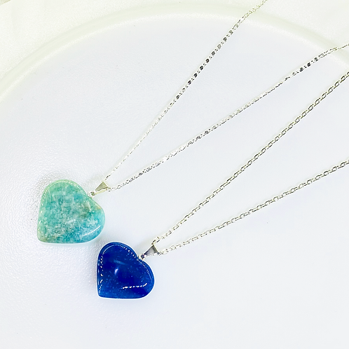Necklace (Blue Quartz - Amazonite) (Chains: 40 cm)