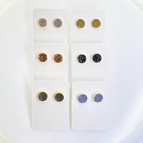 Druzy Stud Earrings (Round shape) (8 mm)