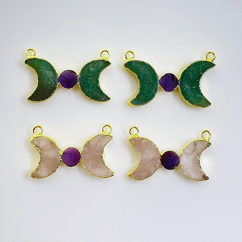 Rose and Green Quartz (Moons - 17-18 mm) Amethyst (Round-8 mm) Connector