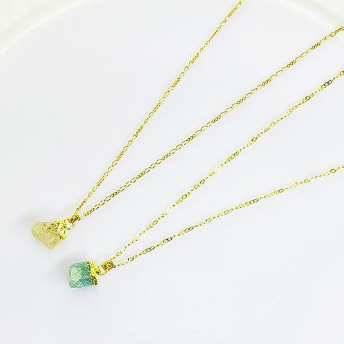 Necklace (Green Quartz-Smoky Quartz)(Chains:40 cm)