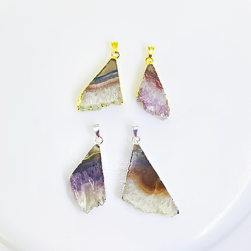 Amethyst Slice Pendants (Triangle Shape)