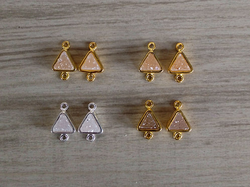 Triangle Druzy Pairs Connectors (6 mm)