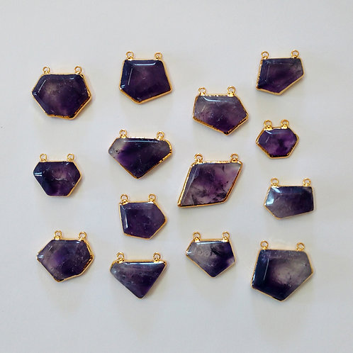 Cabochons of amethyst crystals connectors