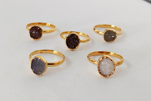 Freeform druzy ring (Sized)