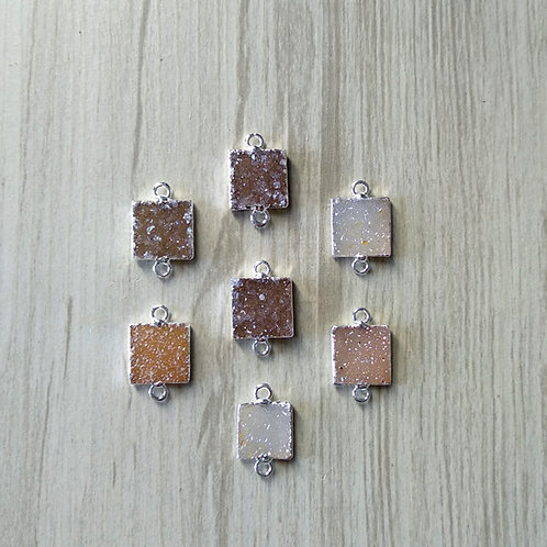 Square Druzy Connector (15 mm)