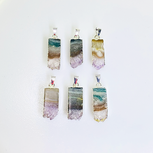 Amethyst Slice Pendants (Rectangular Shape)