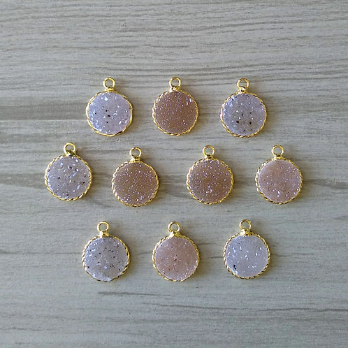 Round druzy pendant (15 mm)(New Plating)