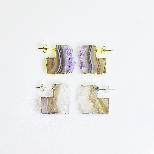 Amethyst Slice Stud Earrings
