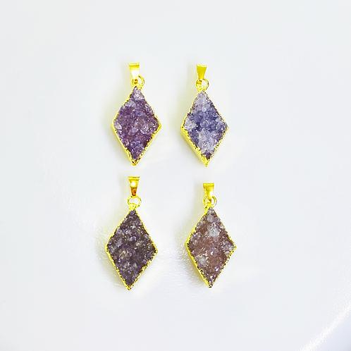Druzy Pendant (Diamond shape)