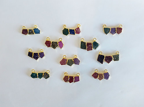 Triple Freeform (Straight cuts) Druzy Connector (Mixed Colors)