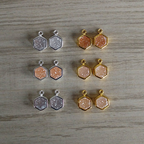 Hexagon Druzy Pairs (6 mm)