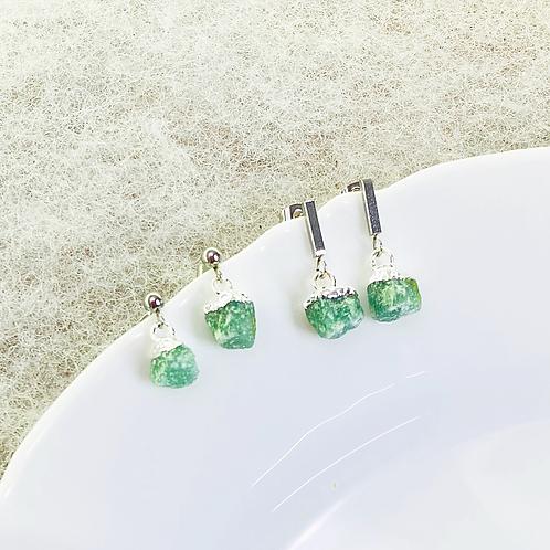 Earrings (Green Quartz)