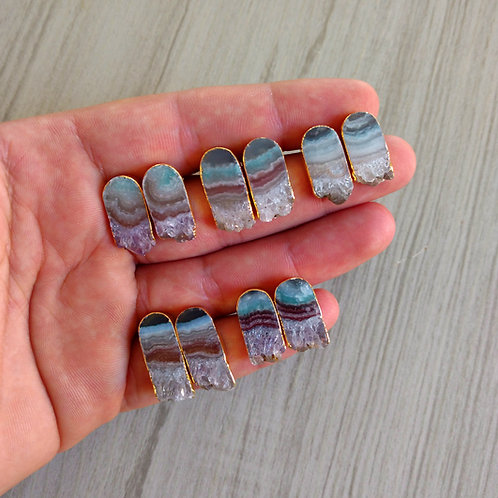 Stud Earrings (Amethyst Slice) (Bullet shape)
