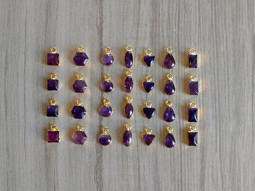 Amethyst Cabochon Pendants (9-10 mm)