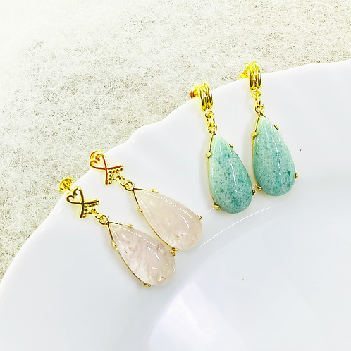 Earrings (Rose Quartz - Green Quartz)
