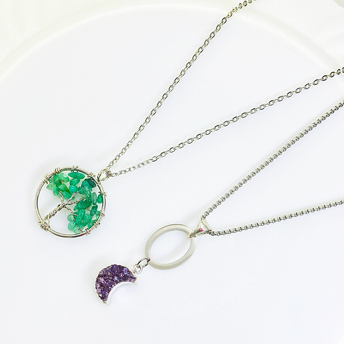 Necklace (Green Quartz - Amethyst)(Chains: 50 cm)