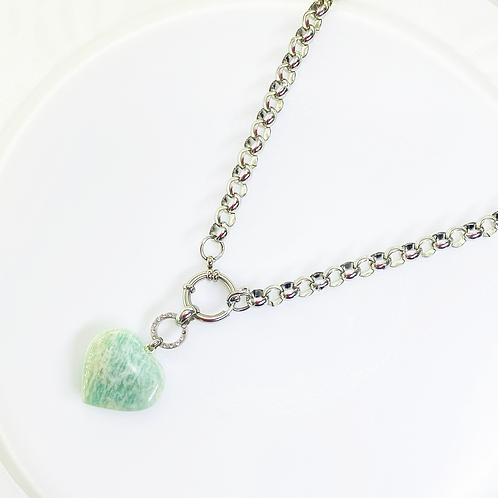 Necklace (Amazonite)(Chain:50 cm)