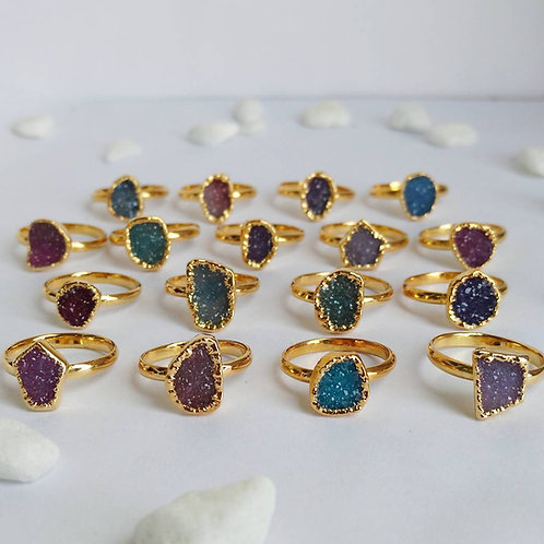 Freeform druzy ring (Sized) (Mixed Colors)