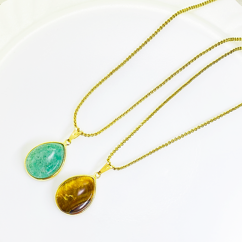 Necklace (Green Quartz and Tiger's Eye)(Chains: 50-65 cm)