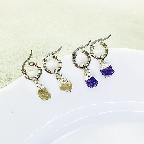 Earrings (Amethyst - Smoky Quartz)
