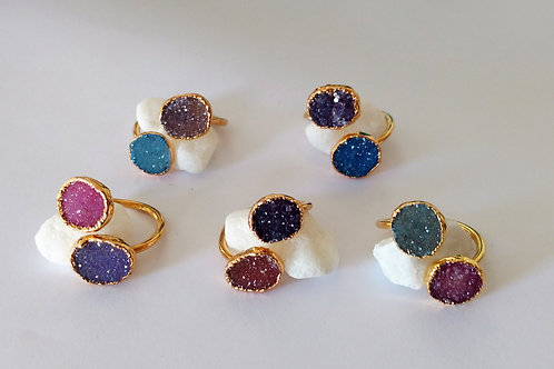 Dual Druzy Ring (Freeform) (Mixed Colors)