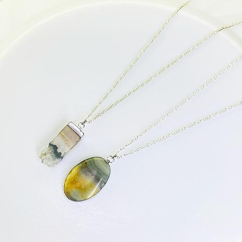 Necklace (Amethyst Slice - Jasper)(Chains: 50 cm)