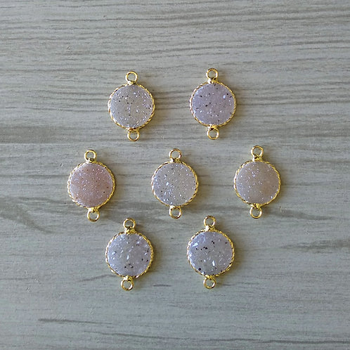 Round druzy Connector (15 mm)(New Plating)