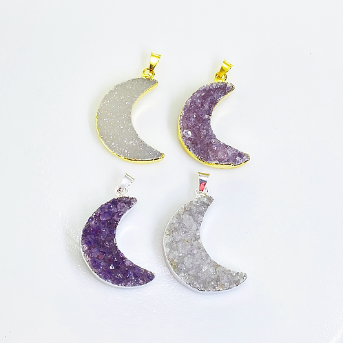 Moon Druzy Pendant (30 mm)