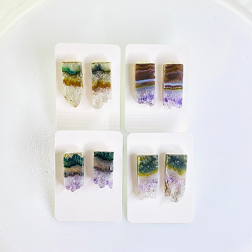Stud Earrings (Amethyst Slice) (Rectangle shape)