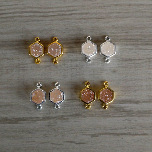 Hexagon Druzy Pairs Connectors (6 mm)