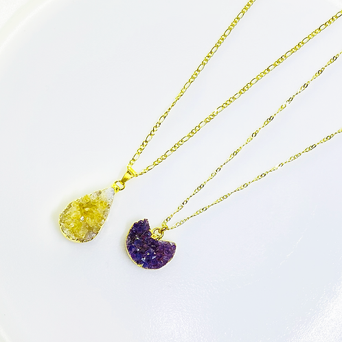 Necklace (Amethyst and Citrine)(Chains: 40 cm)