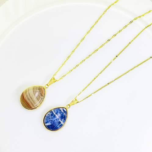 Necklace (Sodalite and Jasper)(Chains: 40 cm)