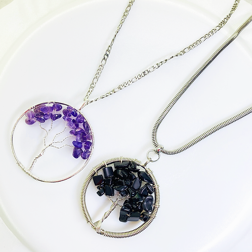 Necklace (Amethyst - Onix)(Chains: 50-55 cm)