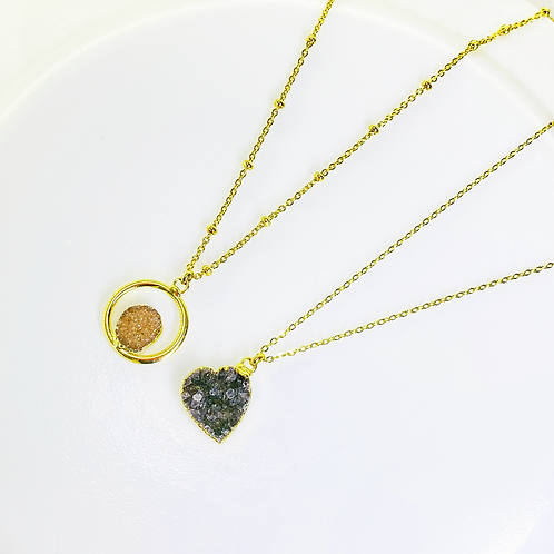 Necklace (Druzy)(Chains: 50 and 55 cm)