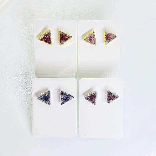 Druzy Stud Earrings (Triangle shape)