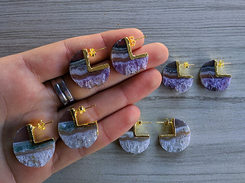 Stud Earrings (Amethyst Slice)