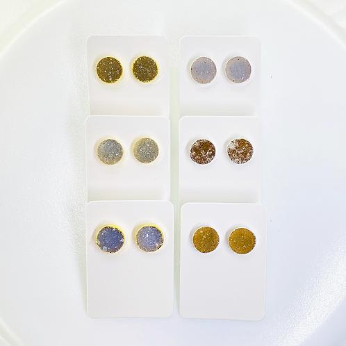 Druzy Stud Earrings (Round shape) (10 mm)