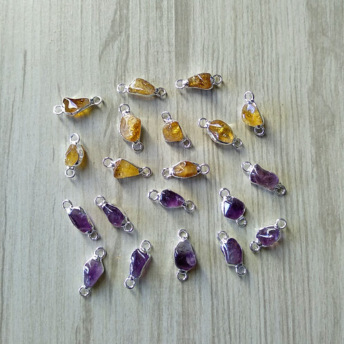 Tumbled Amethyst and Citrine Connectors