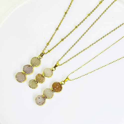 Necklace (Triple Free Form Druzy)(Chains: 50 and 55 cm)