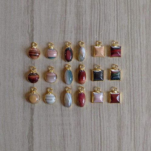 Jasper Cabochon Pendants (9-10 mm)