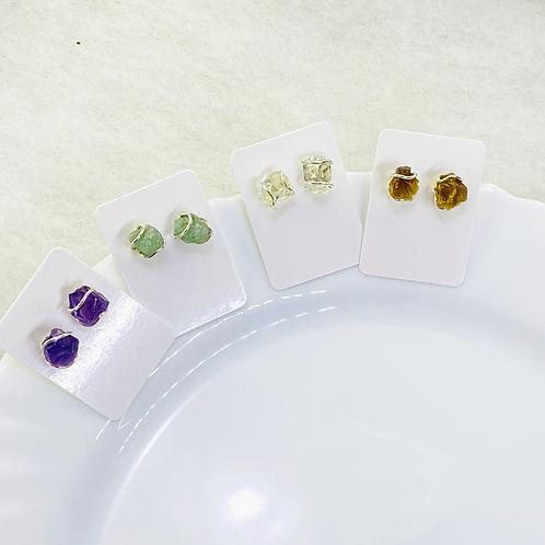 Stud Earring (Amethyst, Green Quartz,Crystal Quartz, Citrine)