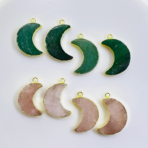 Rose and Green Quartz Pendant (Moon) (28-30 mm)