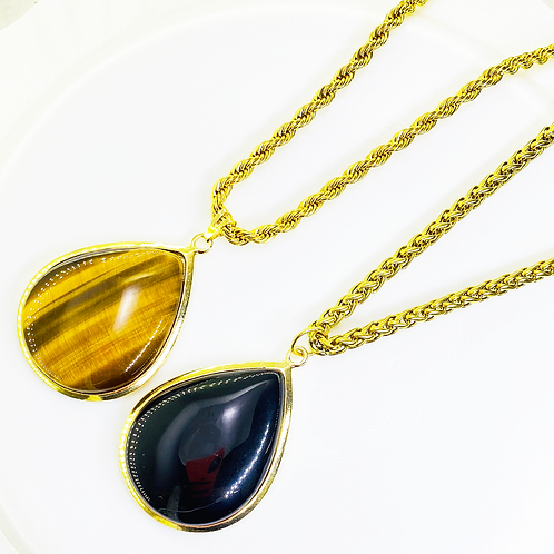 Necklace (Onix-Tiger's Eye)(Chains: 50 cm)